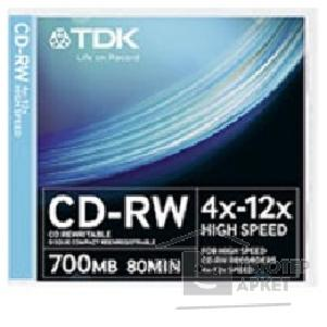 Диск Tdk Диск CD-RW 700Mb 4x-12x Slim Case 10шт CD-RW700HSCA10-L [t18792]