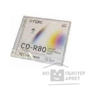 Диск Tdk CD-R80PWWJCA Диски CD-R  700MB 52-x, Printable Jewel