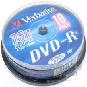 ���� Verbatim 43657 ����� DVD+R  16-x, 4.7 Gb, Slim Case, 10��.