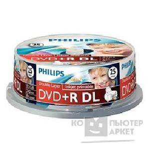 Philips Диски  DVD+R 8.5Gb, 8x, Ink Print, Dual Layer, Cake Box 25шт.