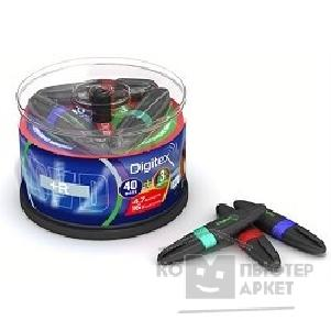 Диск Digitex DVDPR47B16-MD40/ 40.D Диски DVD+R , 16х, 40шт. + 3 маркера, Cake Box