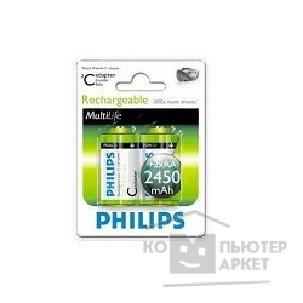 Philips Аккумуляторы  НR6-2BL 2450 mAh 2шт. в уп-ке + adapter C, HR14 [R14NM + 2AAx2450 mAh]