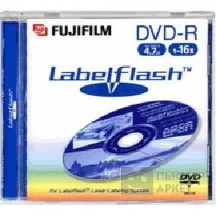 Диск Fuji DVD-R 16x, 4.7 Gb,  Labelflash, Jewel Case, технология Labelflash