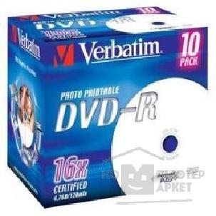 Диск Verbatim 43520 Диски DVD-R  16-x, 4.7 Gb, Printable Jewel Case