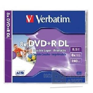 Диск Verbatim DVD+R 8x, 8.5Gb Double Layer,  Wide printable Jewel Case [43665/ 43664]