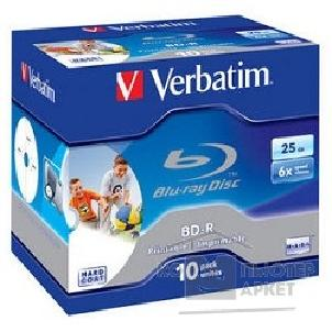 Диск Verbatim Диск BD-R 25Gb 6x Printable Surface Scratchguard+ Jewel Case 10шт  43713