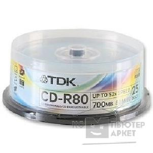 Диск Tdk Диск CD-R 700MB 52x Cake Box 25шт CD-R80CBA25-V [t18767]
