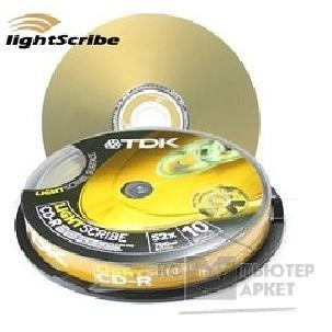 Диск Tdk CD-R  диски 10 шт.  700 Mb 52X, LightScribe, Cake Box [CD-R80CBA10LS]