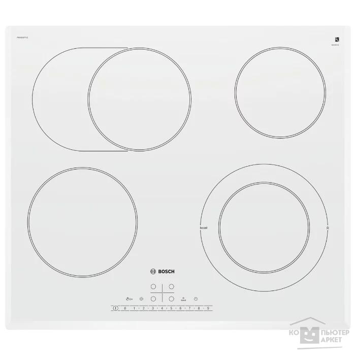 Электрическая,  РОЗНИЧНЫЙ ЭКСКЛЮЗИВ! 4.5x59.2x52.2, стеклокерамическая поверхность, скошенные края, независимая, цвет: белый/Bosch PKN652FP1E PKN652FP1E