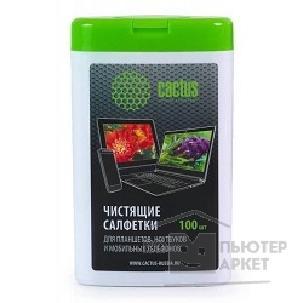 CACTUS Салфетки CS-T1005 Мини туба с чистящими салфетками для планшетов, ноутбуков и моб.тел.,100 шт/Cactus CS-T1005 CS-T1005