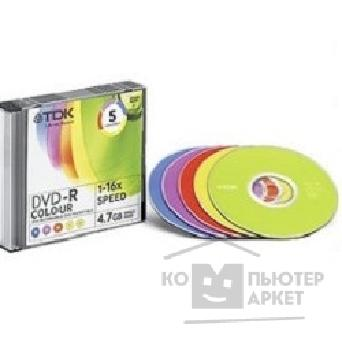 Диск Tdk 75000009144/ DVD-R47SCMIXED5 Диски DVD-R  16x COLOUR, Slim Case 5шт.