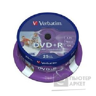 Диск Verbatim Диск DVD+R 4.7Gb 16x Cake Box Printable 25шт  43539