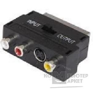 Buro Адаптер  BSP005 Scart m In/ Out-S-video f +3xRCA f черный