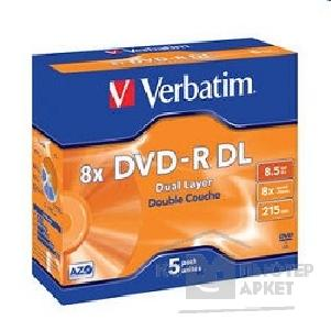 Диск Verbatim 43596 Диски DVD-R  8-x, 8.5Gb, Dual Layer Jewel Case, 5шт.