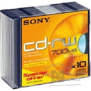 Диск Sony CD-RW 4-10x Disk  700Mb 80min Color Slim Case, 10 штук 10CDRW700HSSLD