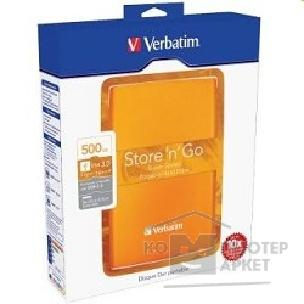 носители информации Verbatim HDD 500Gb  USB3.0 Portable HDD [53028] Volcanic Orange