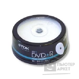 Диск Tdk Диск DVD+R 4.7Gb 16x Cake Box Printable 25шт  t19845