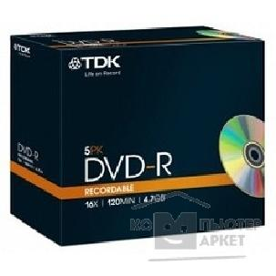 Диск Tdk Диск DVD-R 4.7Gb 16x Jewel Case 5шт  t19410