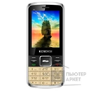 Кенекси KENEKSI K6 Golden, 2.4'' 320x240, up to 16GB flash, 0.3Mpix, 2 Sim, 2G, BT, 800mAh, 90g, 117.2x51.7x11.3