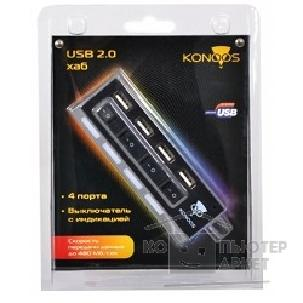 Контроллер Konoos HUB USB 2.0  UK-26, 4 порта USB с индикацией