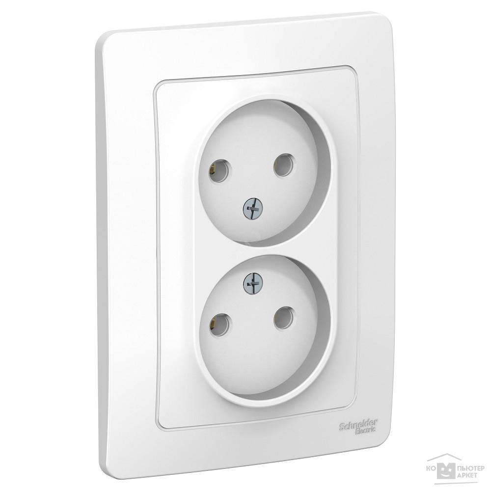 3a9ecc42b996 Розетки и выключатели Schneider-electric BLNRS000021 BLANCA С  У РОЗЕТКА  двойная без заземления без шторок, 16А, ...