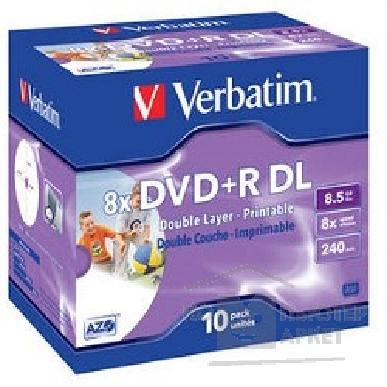 Диск Verbatim 43665 Диски  DVD+R 8x, 8.5GB/ 240мин, Printable Jewel Case, 10шт.