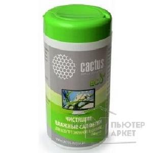 CACTUS Салфетки CS-T1001E для экранов и оптики туба 100шт влажных/Cactus CS-T1001E CS-T1001E