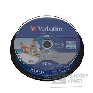 Диск Verbatim BD-R 25 GB 6x CB/ 10 Full Ink Print NO ID 43804