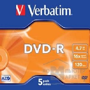 Диск Verbatim 43519 Диски DVD-R  16-x, 4.7 Gb, Jewel Case, 5 шт.