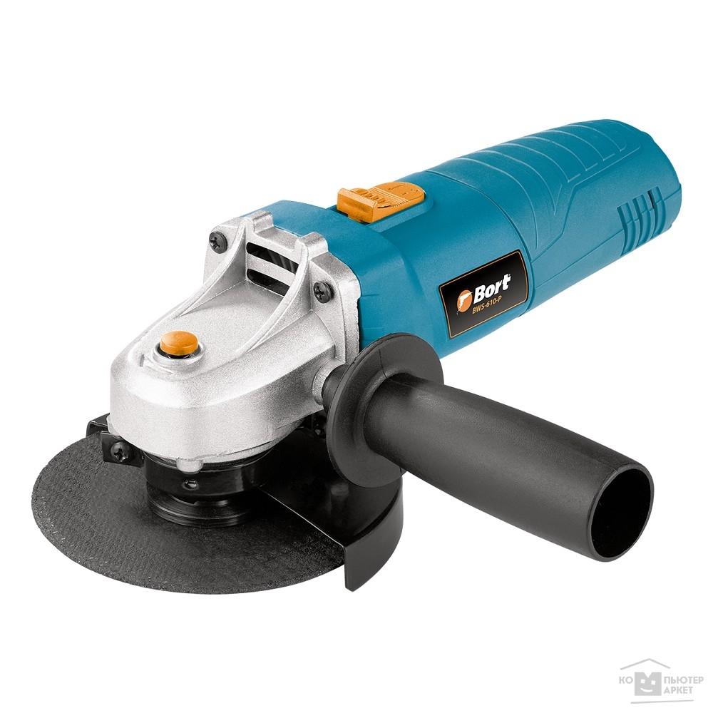 Bort BWS-610-P Машина шлифовальная угловая [91271037] { 600 Вт, 11000 об/мин, 115 мм, М14, 1,65 кг, набор аксессуаров 4 шт }/Bort BWS-610-P 91271037
