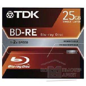 Диск Tdk BD-RE25J001/  Диски BD-RE Blu-Ray , 2x, 25Gb, Jewel Case