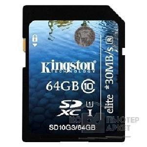 Карта памяти  Kingston SecureDigital 64Gb , SD10G3/ 64GB SDXC Class 10