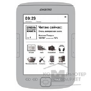 "Электронная книга Digma 787265 Электронная книга  T635 6"" E-Ink HD Pearl capacitive touch 600Mhz 128Mb/ 4Gb/ microSDHC серебристый"