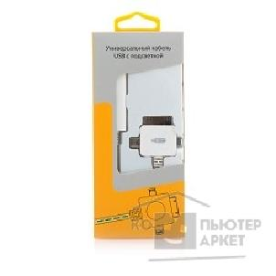 Кабель gmini mCable MEL400 White microUSB+30pin+Lightning with blue light, 80sm