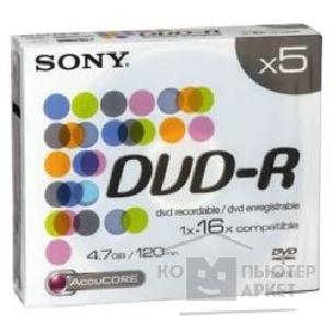 Диск Sony DVD-R 16x, 4.7 Gb,  Slim Case, 5 шт. [5DMR47ALX4]