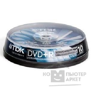 Диск Tdk Диск DVD+R 4.7Gb 16x Cake Box Scratchproof 10шт  DVD+R47SPCBED10, t19492