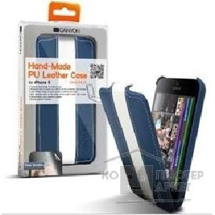 Чехол Canyon CNA-I5L01BW Carefully hand-made protective leather case Blue/ White , screen protector included