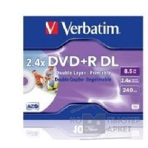Диск Verbatim DVD+R 2.4x, 8.5Gb Double Layer,  InkJet printable, Jewel Case 43517