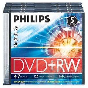 Philips Диски  DVD+RW 4.7Gb, 4x, Slim Case 5шт.