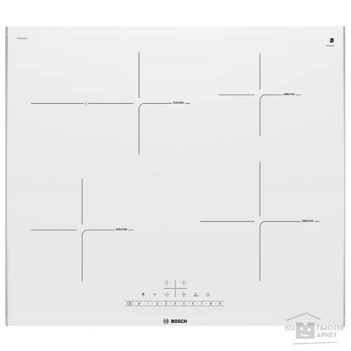 Индукционная,  60 см, индукция, скошенный край, сенсорное управление, белый/Bosch PIF672FB1E PIF672FB1E