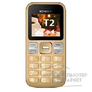 Кенекси KENEKSI T2 Golden, 2'' 176x220, up to 16GB flash, 0.3Mpix, 2 Sim, 2G, BT, 1000mAh, 97g, 121,8x55,5x13,5