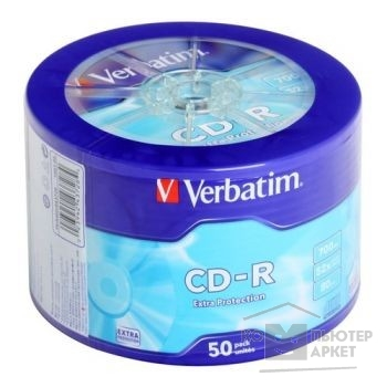 Диск Verbatim Диски CD-R 50 шт. Printable InkJet, 52-x 700Mb, Cake Box [43309/ 43438]
