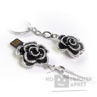 Носитель информации Qumo USB 2.0  16GB Charm Series Rose Black, [QM16GUD-Charm-ROSE] Swarovski crystal