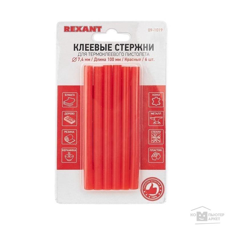 REXANT (09-1019) Клеевые стержни d=7,4 мм, L=100 мм, красные (упак. 6 шт.) /REXANT 09-1019 09-1019