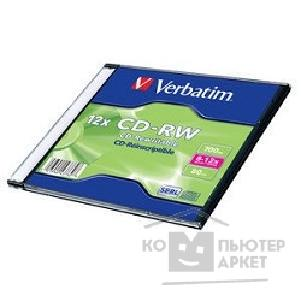 Диск Verbatim Диск CD-RW 700Mb 8-12x Slim case 20шт  43762