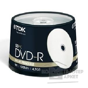 Диск Tdk Диск DVD-R 4.7Gb 16x Cake Box 50шт Printable, DVD-R47PWCBED50, t19914