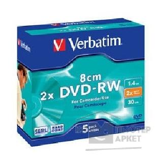 Диск Verbatim Диски DVD-RW 2-x, 1.4GB/ 30min, 8см Mini DVD Jewel Case, 5шт.  43514