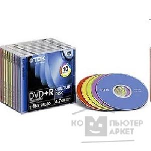 Диск Tdk DVD+R 16x, 4.7 Gb,  COLOUR, Slim Case 10шт. [DVD+R47SCMIXED10-L]