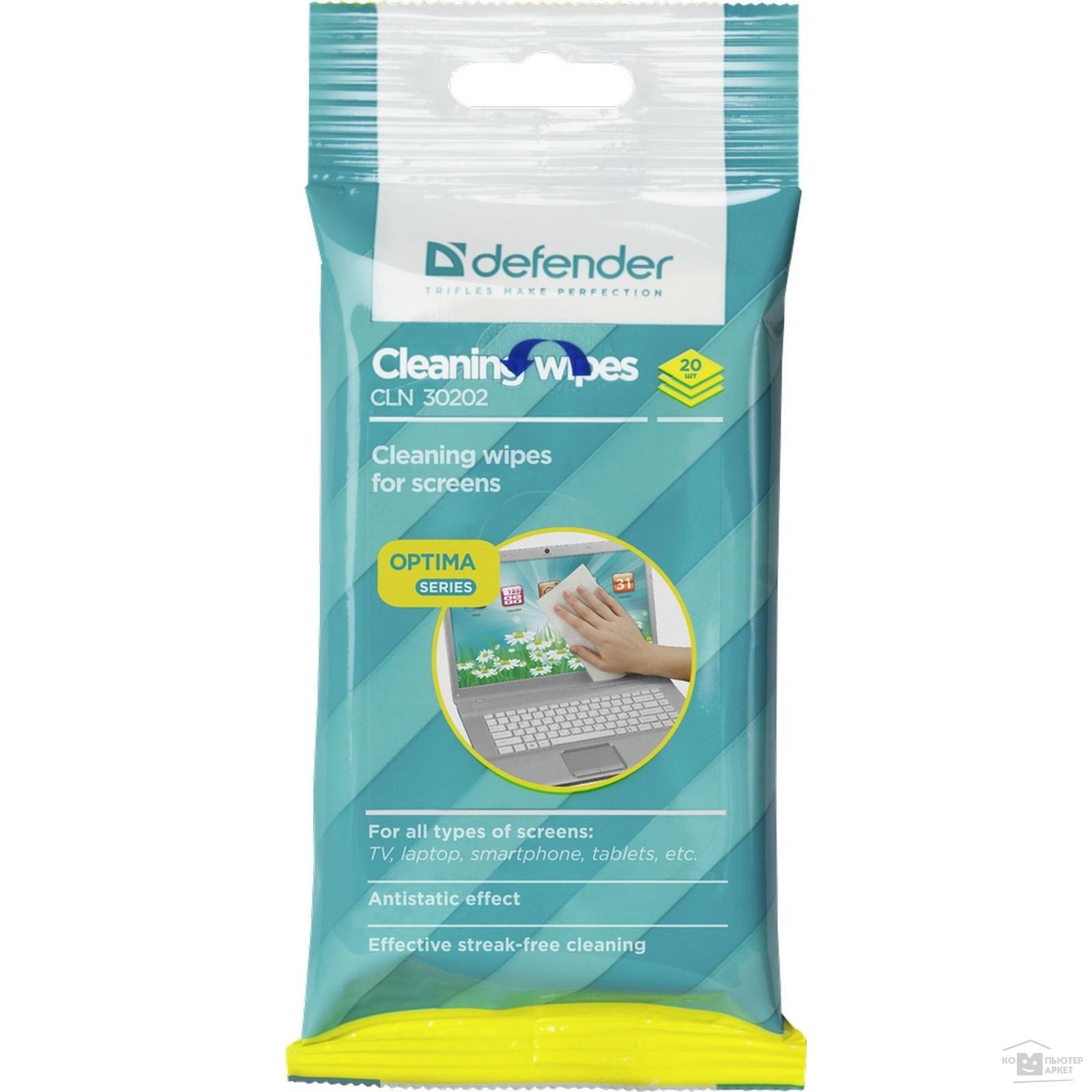 DEFENDER Салфетки для экрана CLN 30202, в мягкой упаковке, 20шт./CLN 30202 30202
