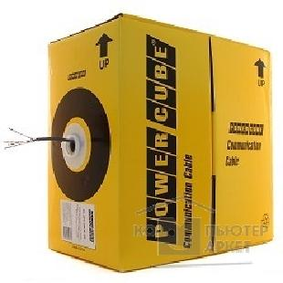 Кабель PowerCube [PC-UPC-5051E-SO-LSZH] Кабель UTP кат.5e, 4 пары, 0.51мм 305 м pullbox , Fluke МЕДЬ одножил.0.51мм, FLUKE TEST , LSZH - облочка, серый